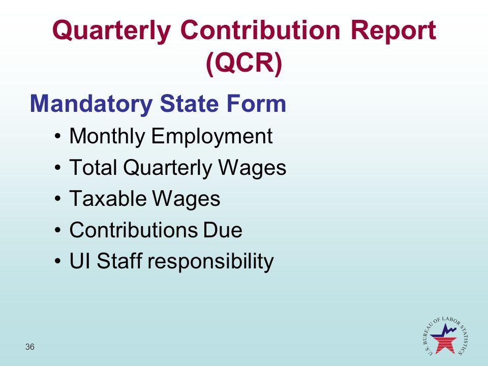 Quarterly Contribution Report (QCR)
