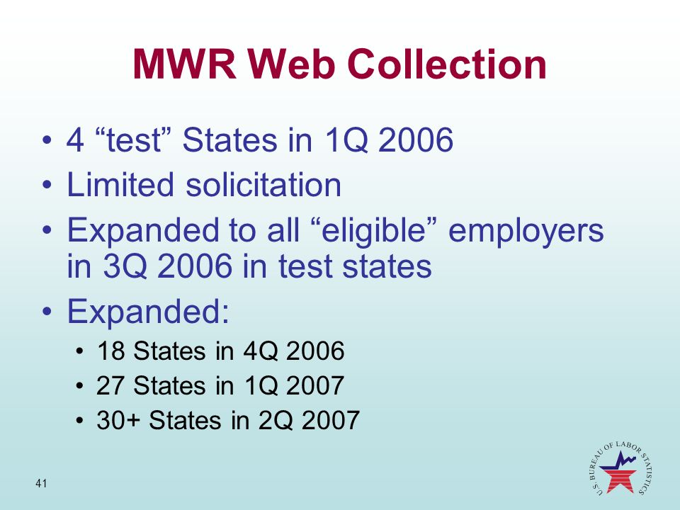 MWR Web Collection 4 test States in 1Q 2006 Limited solicitation
