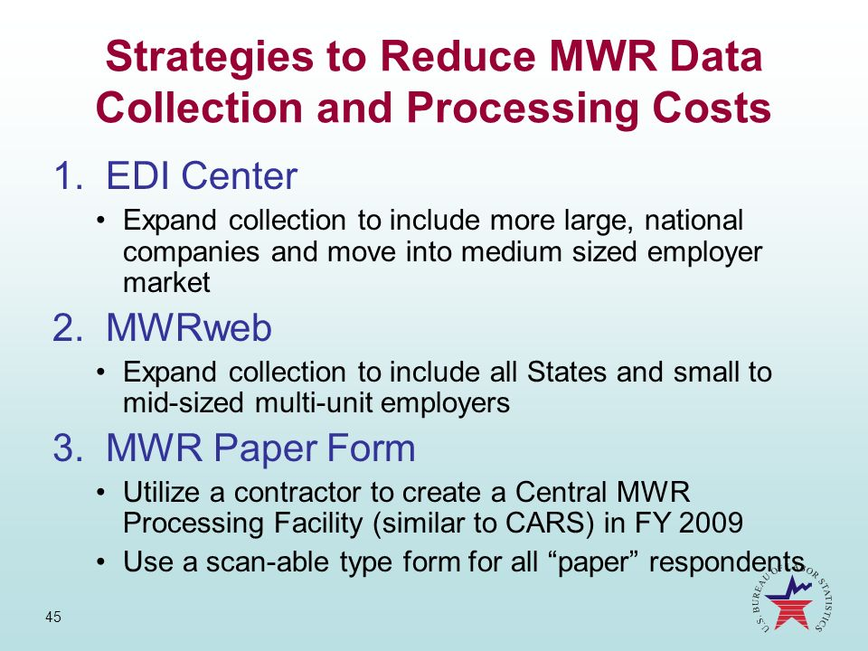 Strategies to Reduce MWR Data Collection and Processing Costs