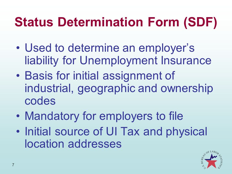 Status Determination Form (SDF)
