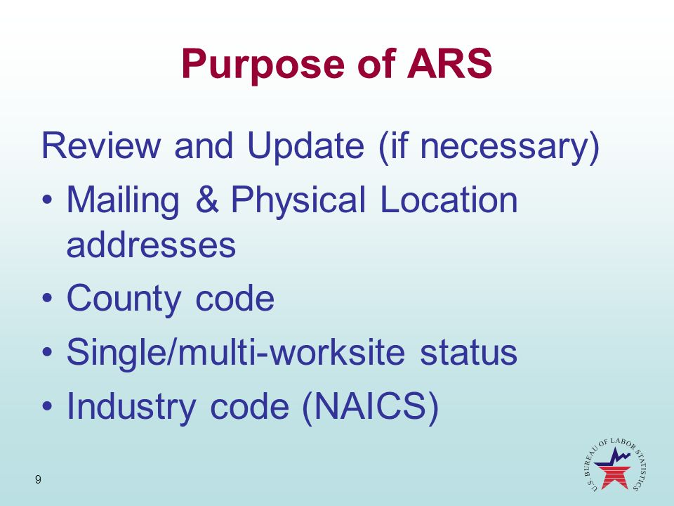 Purpose of ARS Review and Update (if necessary)