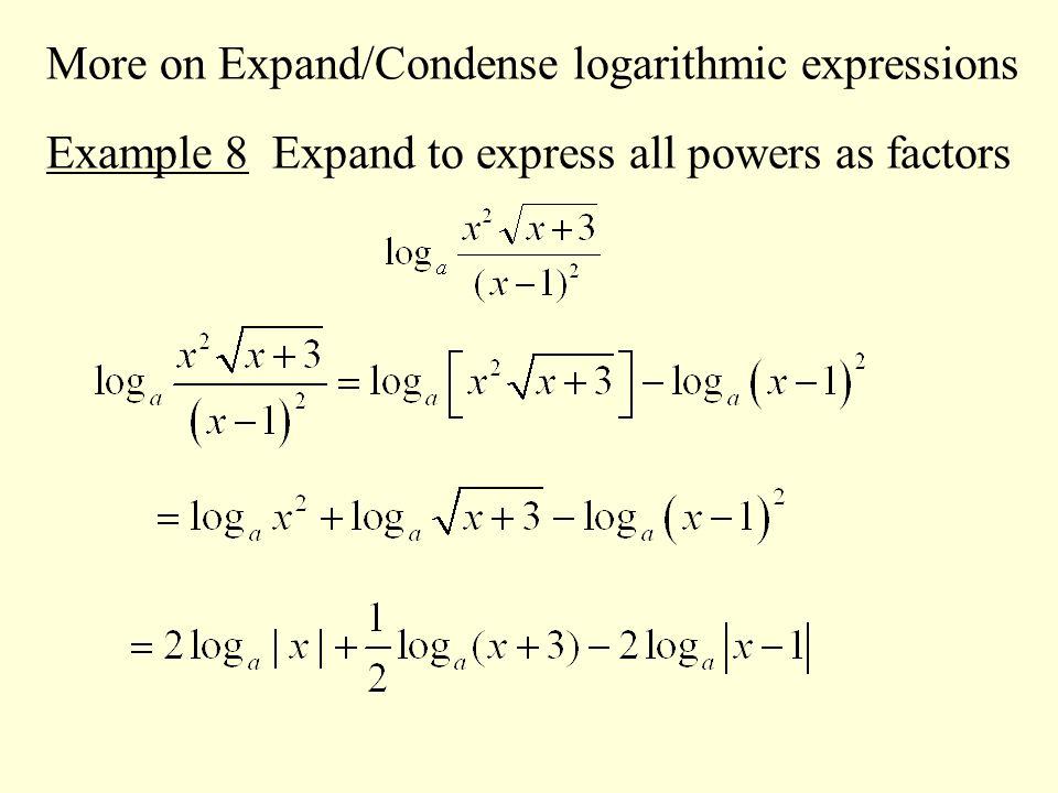 Expanding condensing logarithms worksheet