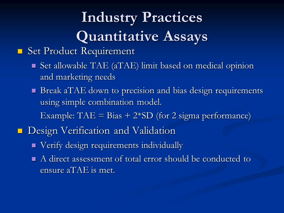 Industry Practices Quantitative Assays