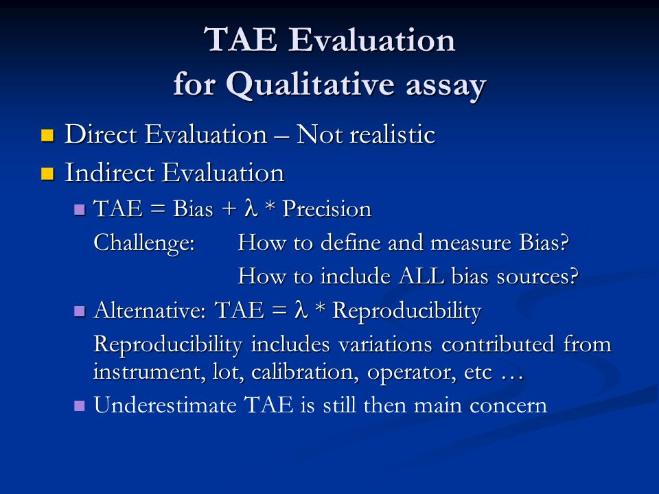 TAE Evaluation for Qualitative assay