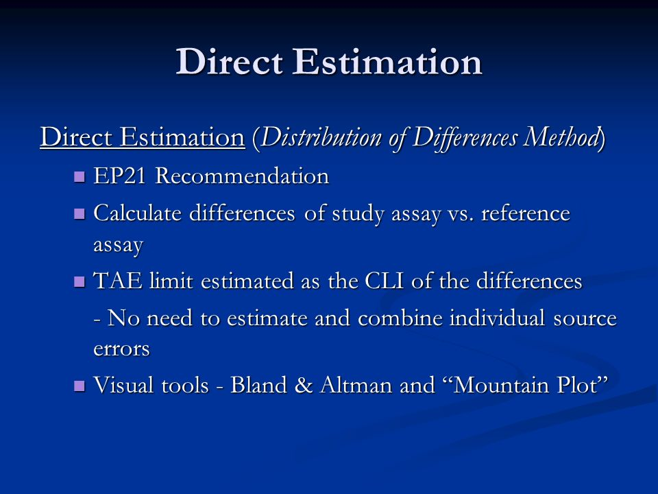 Direct Estimation Direct Estimation (Distribution of Differences Method) EP21 Recommendation.