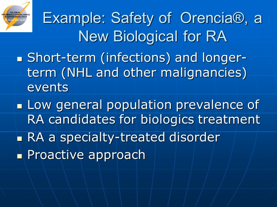 Example: Safety of Orencia®, a New Biological for RA