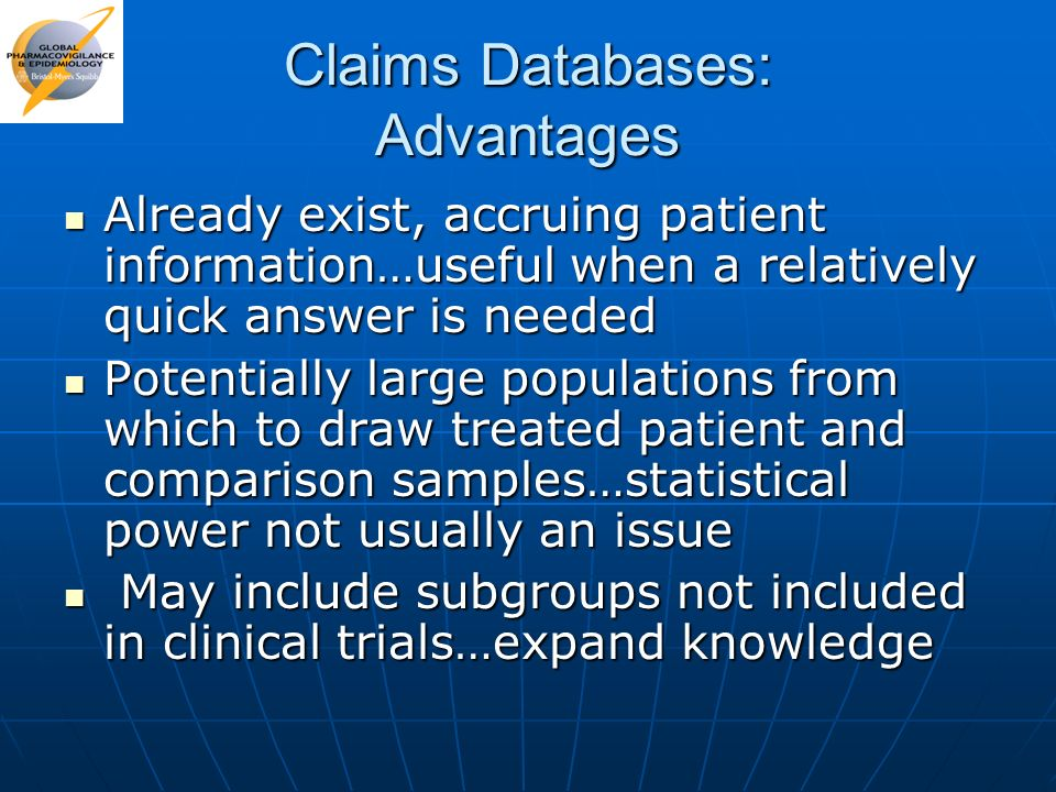 Claims Databases: Advantages
