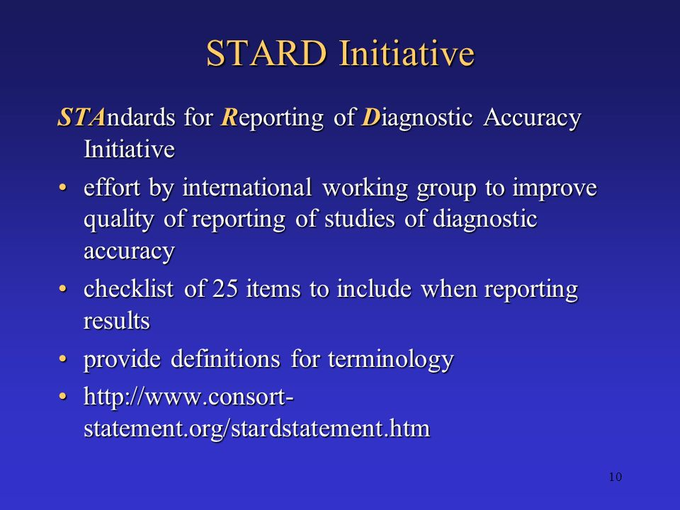 STARD Initiative STAndards for Reporting of Diagnostic Accuracy Initiative.