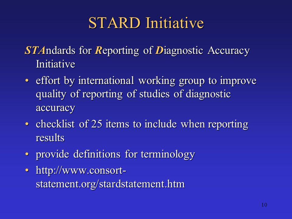 STARD Initiative STAndards for Reporting of Diagnostic Accuracy Initiative.
