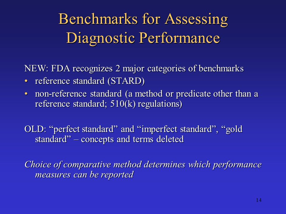 Benchmarks for Assessing Diagnostic Performance
