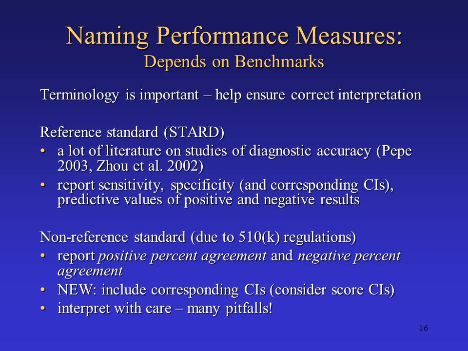 Naming Performance Measures: Depends on Benchmarks