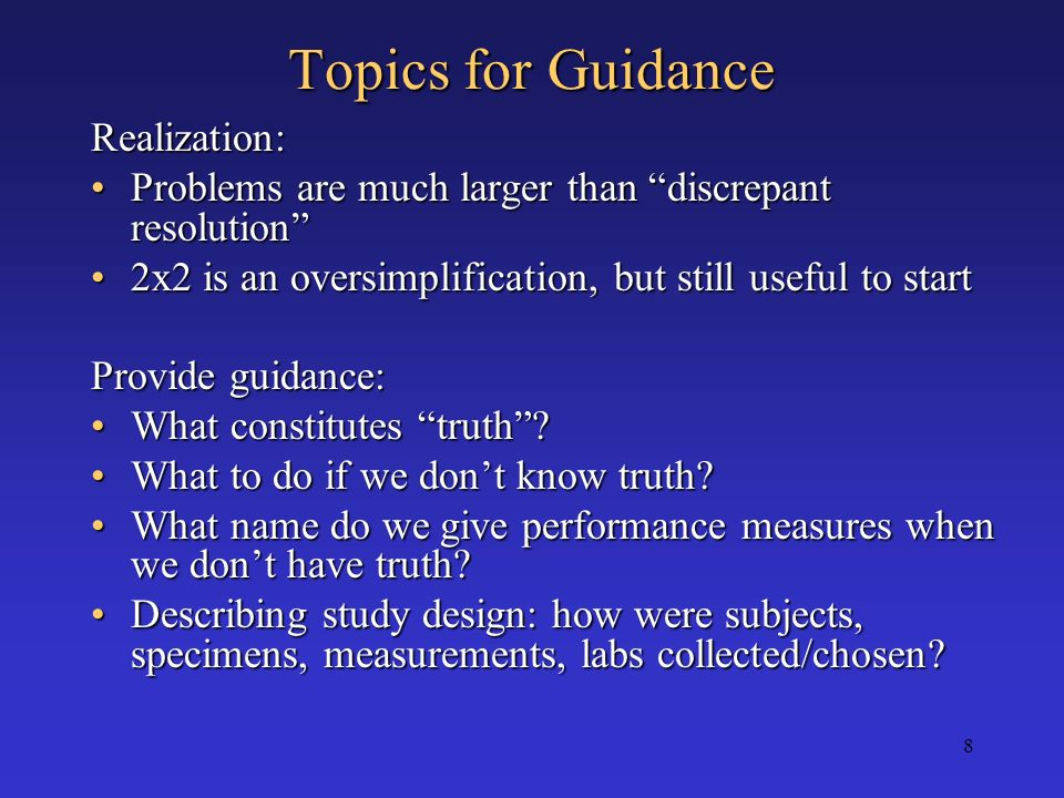 Topics for Guidance Realization: