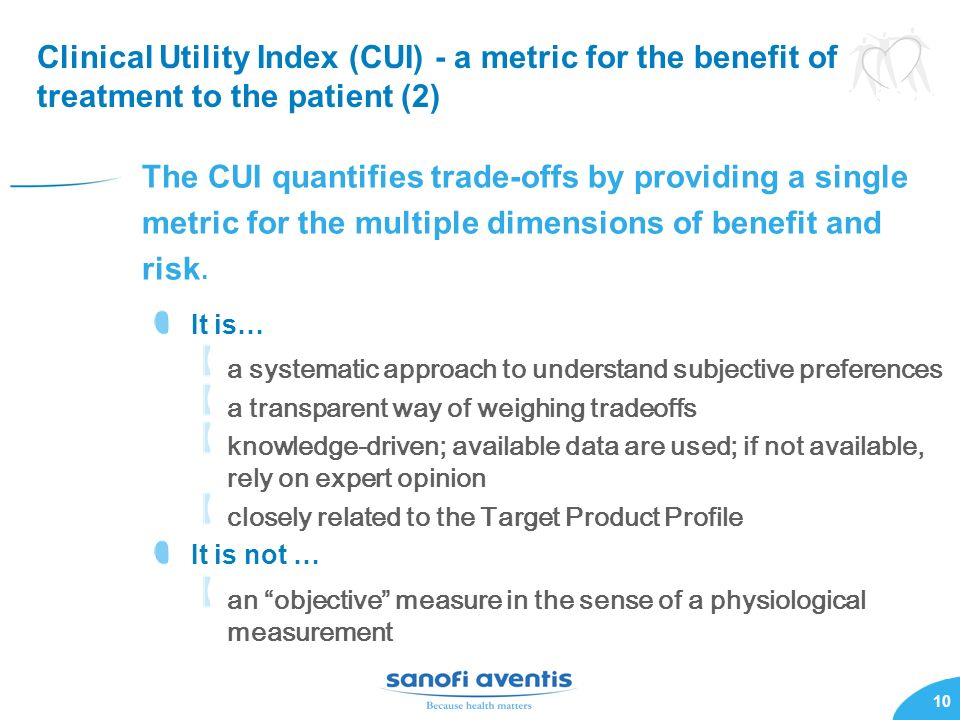 Clinical Utility Index (CUI) - a metric for the benefit of treatment to the patient (2)