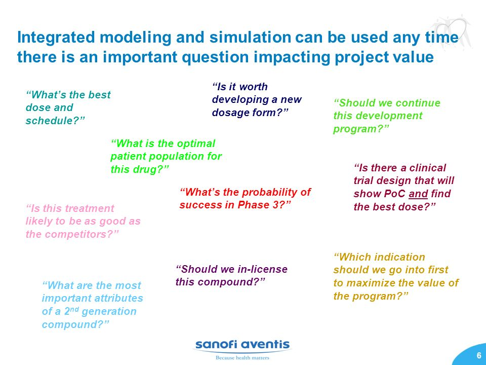 Integrated modeling and simulation can be used any time there is an important question impacting project value