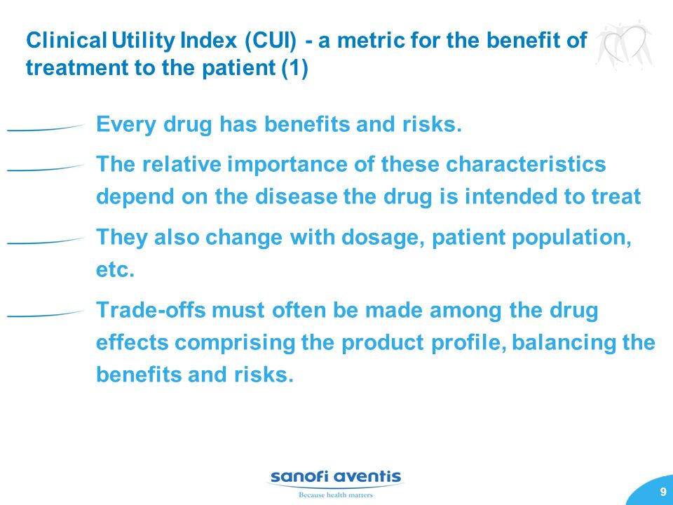Clinical Utility Index (CUI) - a metric for the benefit of treatment to the patient (1)