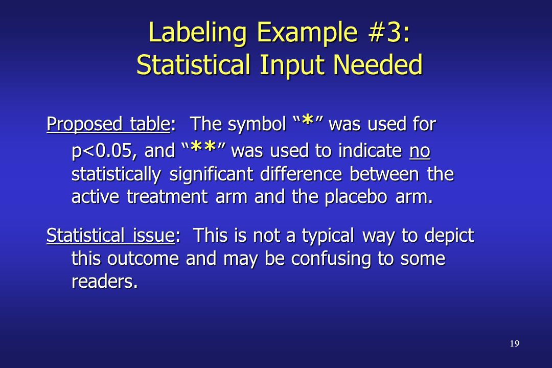 Labeling Example #3: Statistical Input Needed