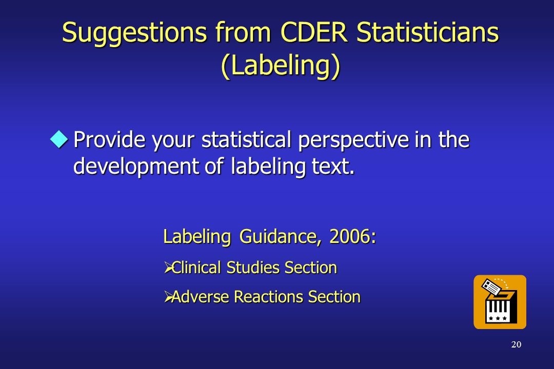 Suggestions from CDER Statisticians (Labeling)