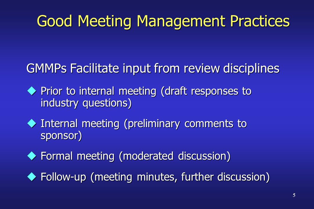 Good Meeting Management Practices