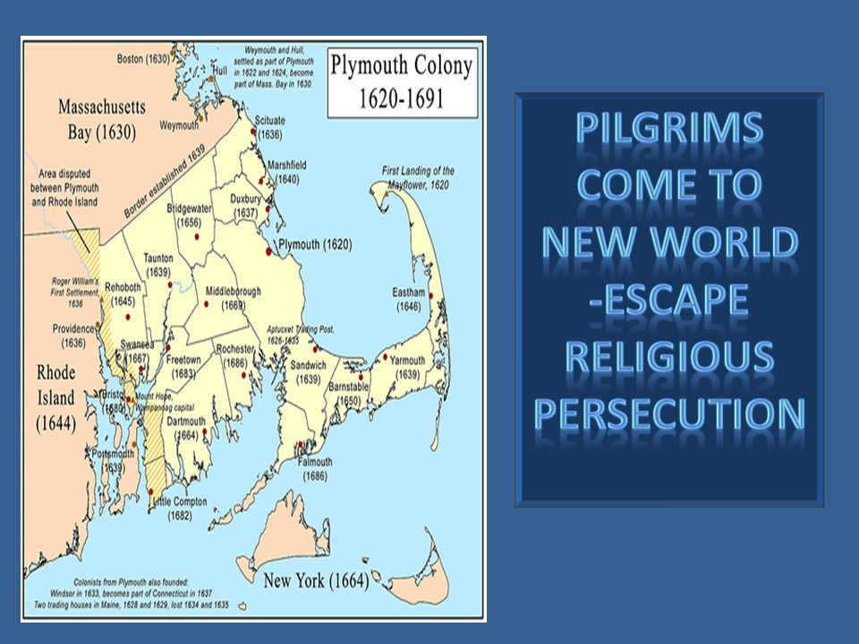 PILGRIMS COME TO NEW WORLD -escape religious persecution