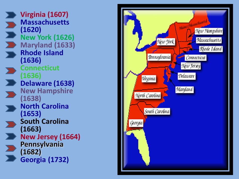 Virginia (1607) Massachusetts (1620) New York (1626) Maryland (1633) Rhode Island (1636) Connecticut (1636)