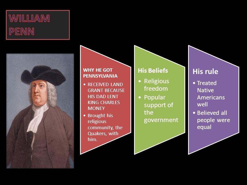WILLIAM PENN His rule His Beliefs Religious freedom
