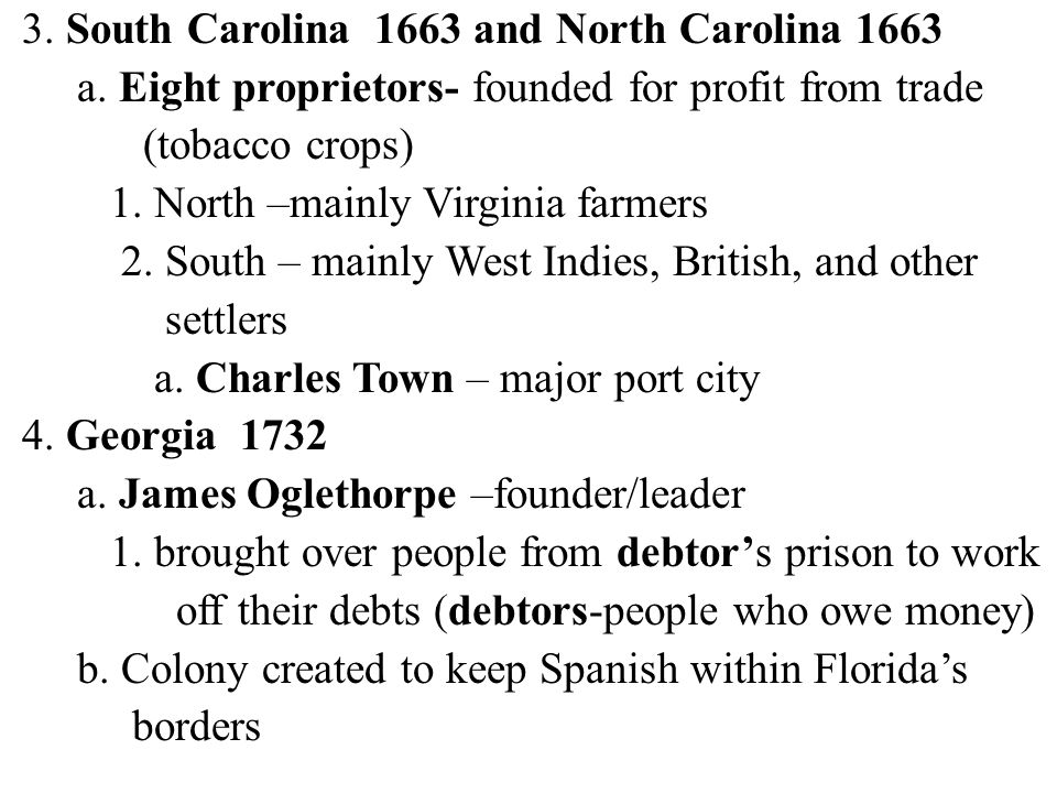 3. South Carolina 1663 and North Carolina 1663 a