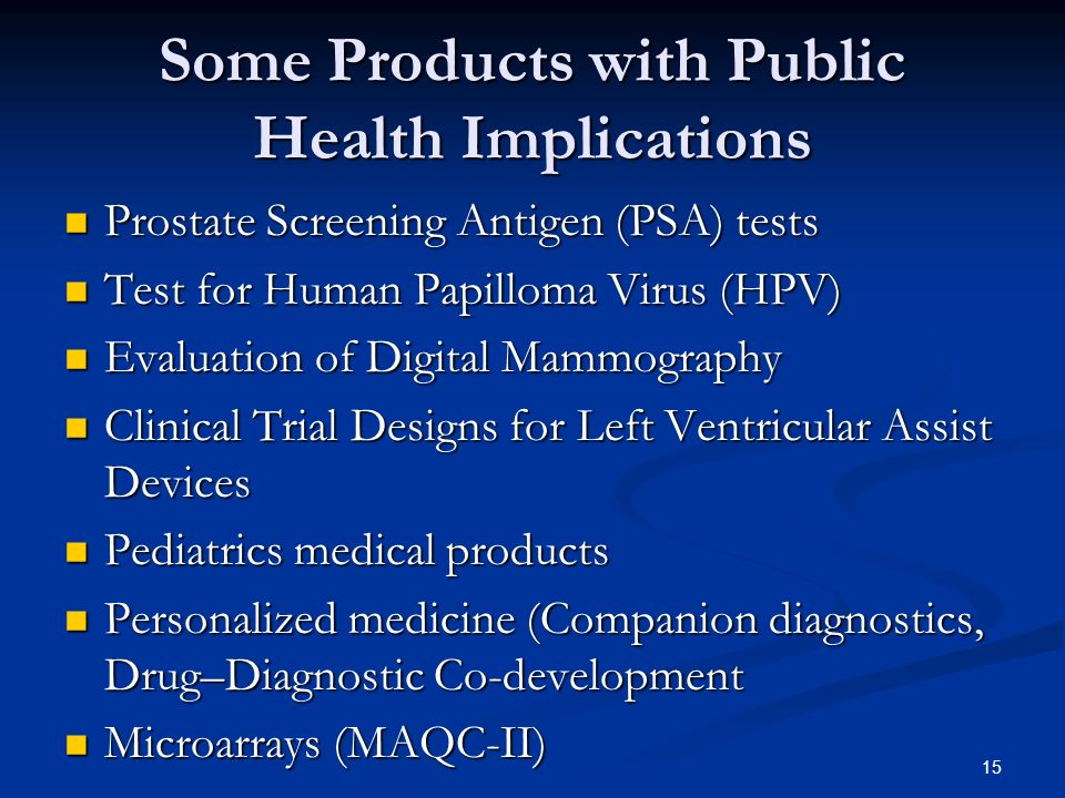 Some Products with Public Health Implications
