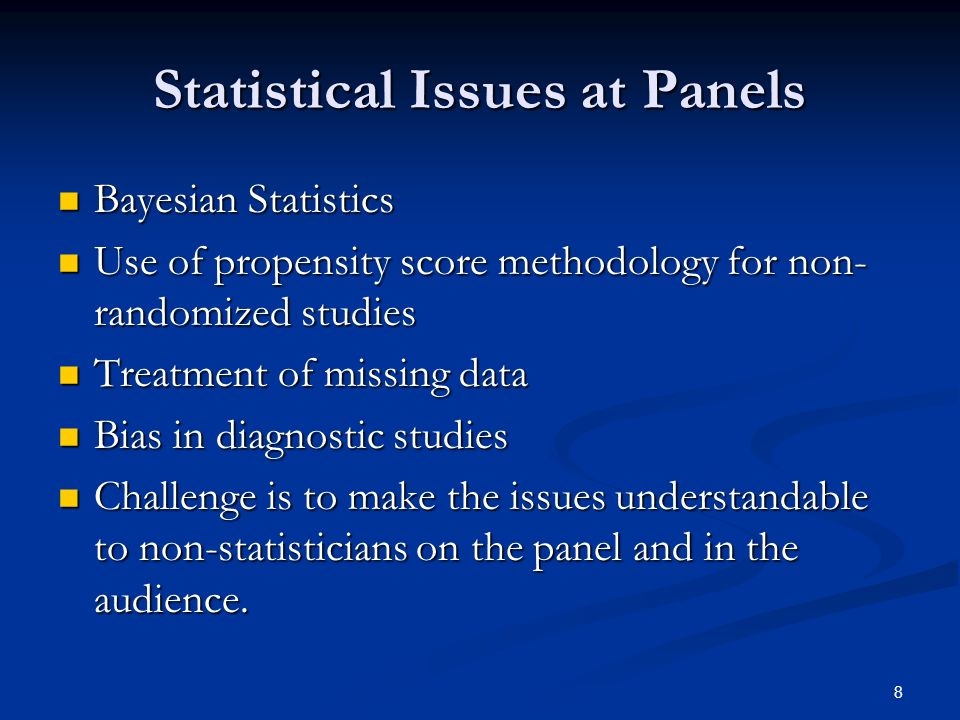 Statistical Issues at Panels