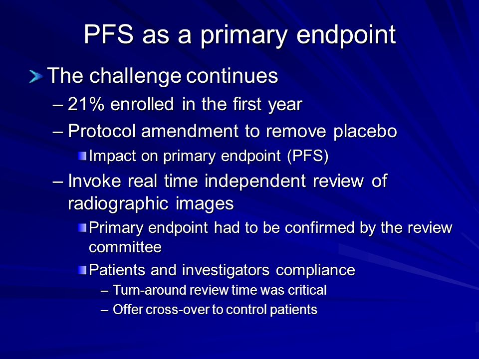 PFS as a primary endpoint