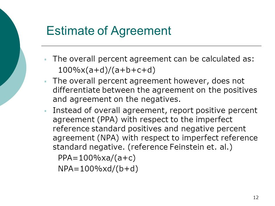 Estimate of Agreement The overall percent agreement can be calculated as: 100%x(a+d)/(a+b+c+d)