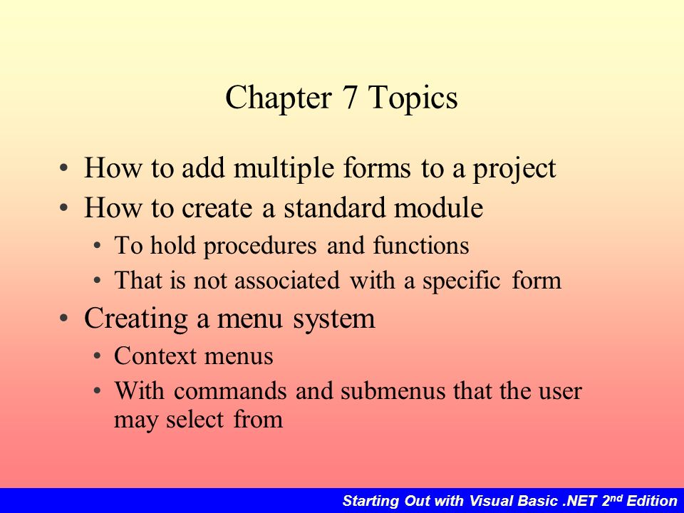 Multiple Forms Standard Modules And Menus Ppt Download