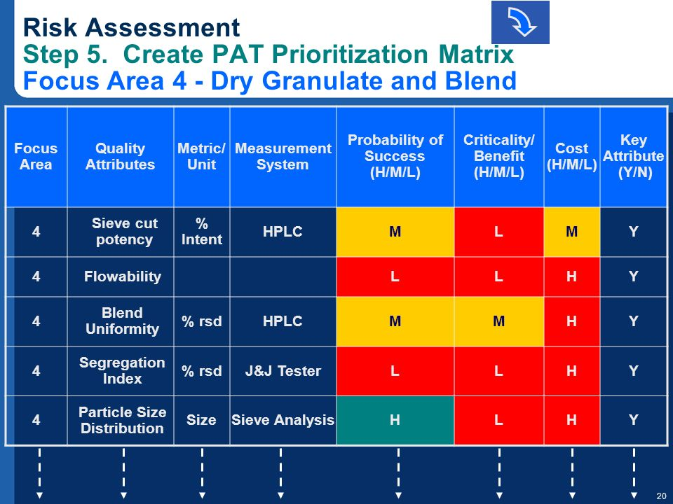 Risk Assessment Step 5. Create PAT Prioritization Matrix Focus Area 4 - Dry Granulate and Blend
