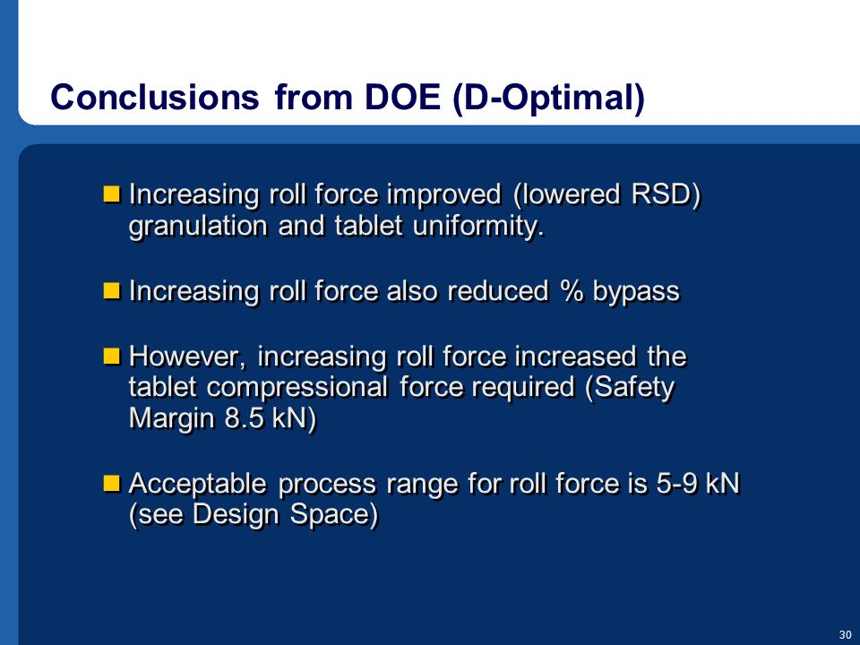 Conclusions from DOE (D-Optimal)