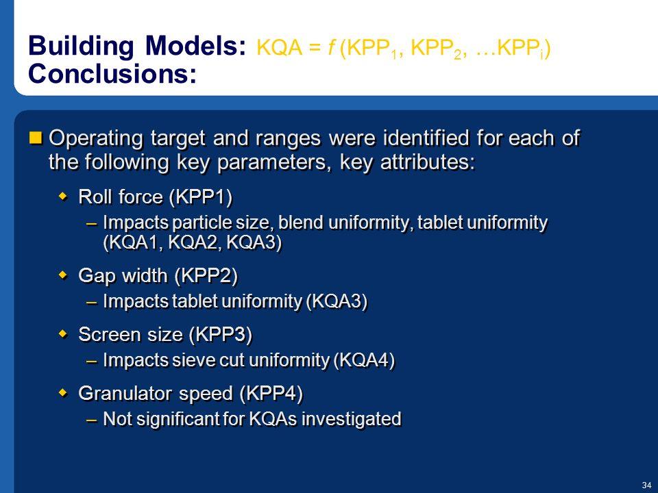 Building Models: KQA = f (KPP1, KPP2, …KPPi) Conclusions: