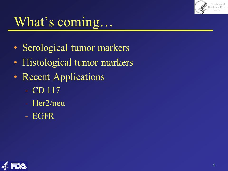 What's coming… Serological tumor markers Histological tumor markers
