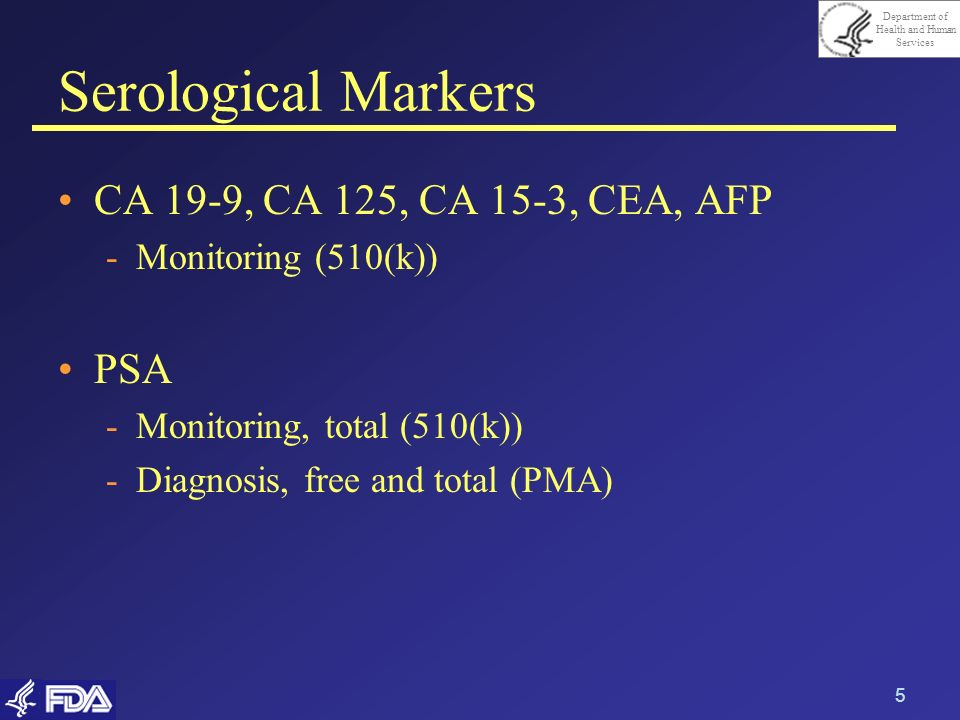 Serological Markers CA 19-9, CA 125, CA 15-3, CEA, AFP PSA