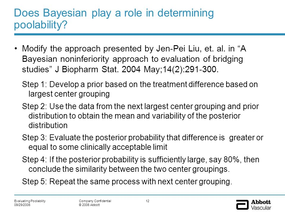 Does Bayesian play a role in determining poolability