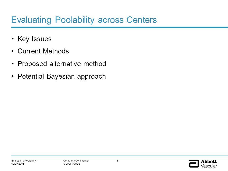 Evaluating Poolability across Centers