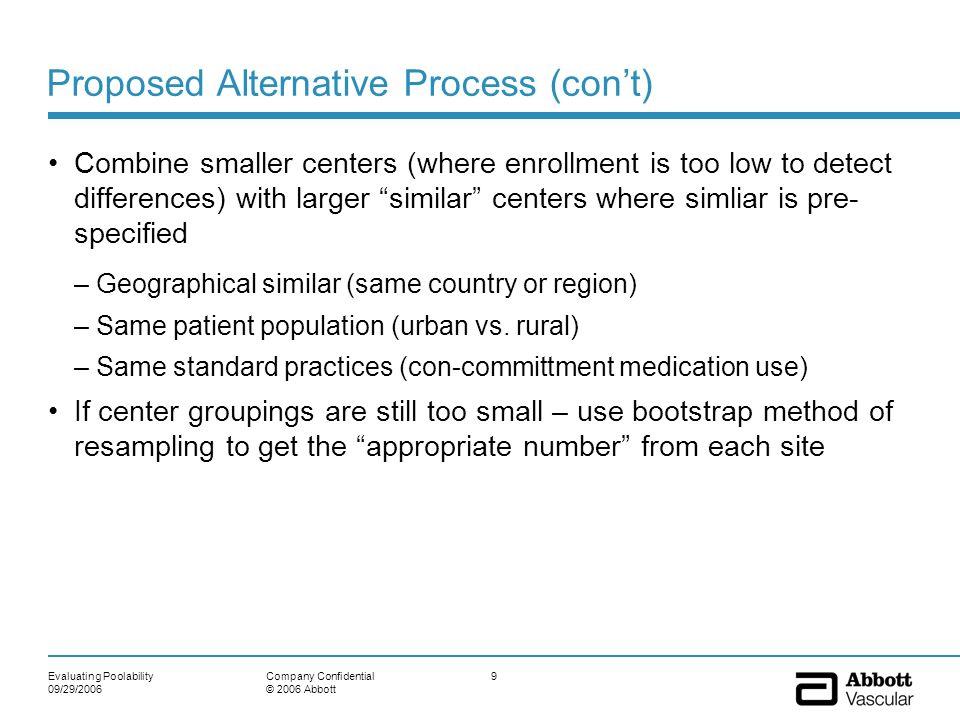 Proposed Alternative Process (con't)