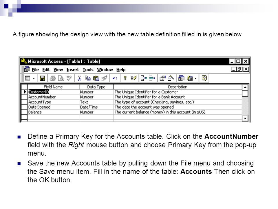 Lecture note 9 introduction to the ms access ppt download for Table design view definition