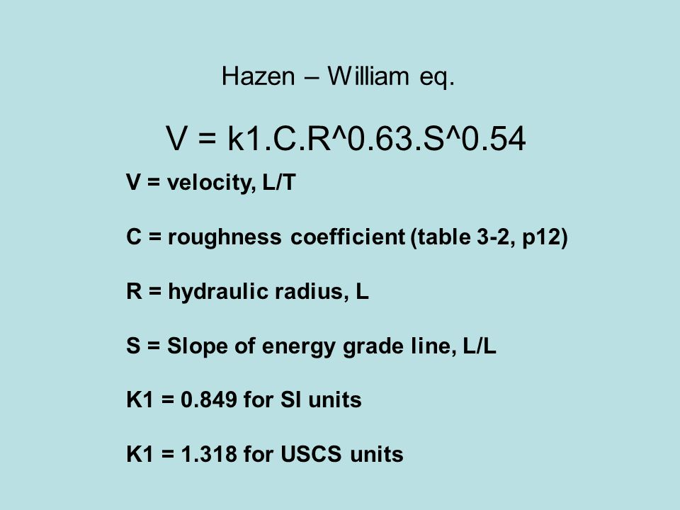hazen williams formula metric scale