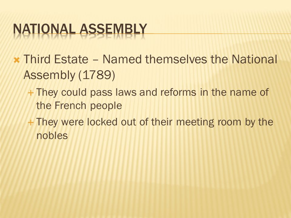 National Assembly Third Estate – Named themselves the National Assembly (1789) They could pass laws and reforms in the name of the French people.