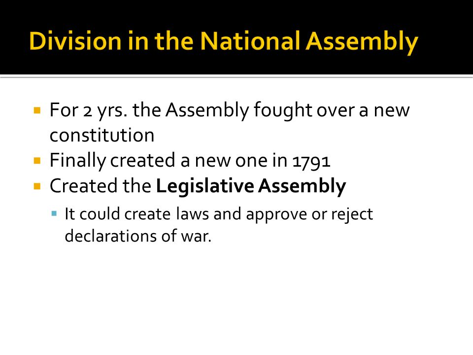 Division in the National Assembly