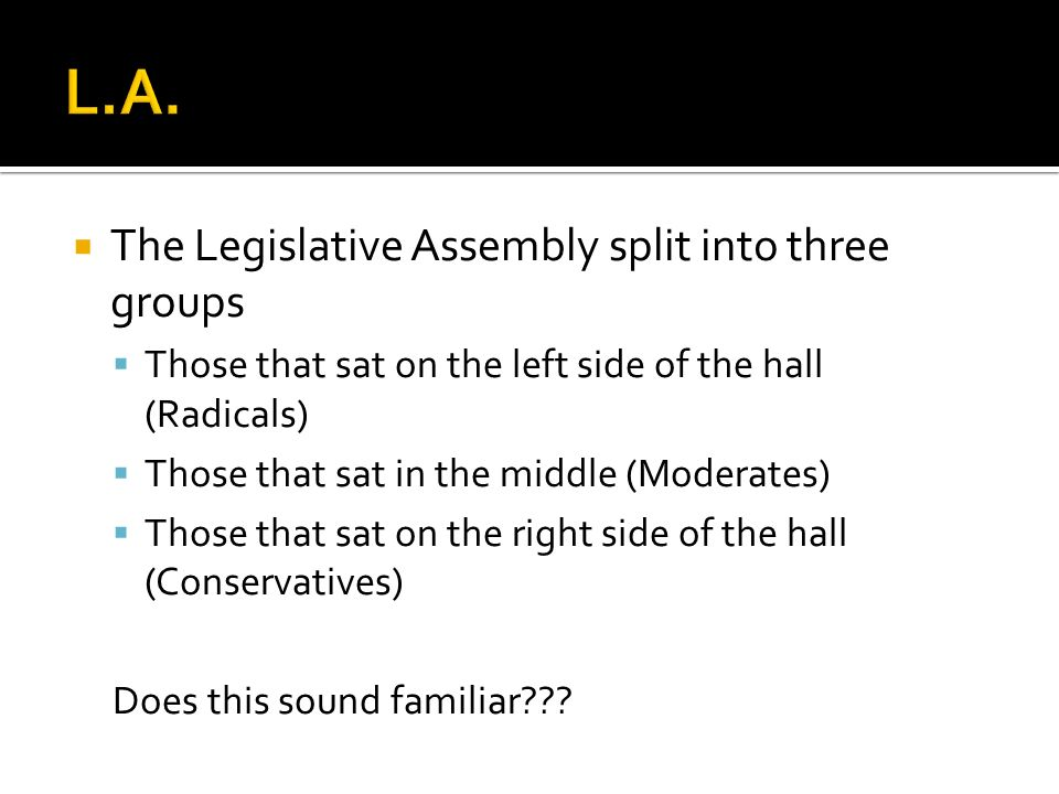 L.A. The Legislative Assembly split into three groups