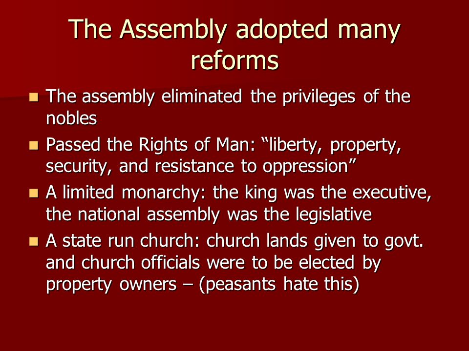 liberty property security and resistance to Declaration of the rights of man and of citizens  and these rights are liberty, property, security, and resistance of oppression three: the nation is essentially the source of all sovereignty nor can any individual, or any body of men, be entitled to any authority which is not expressly derived from it  seventeen: the right to property.