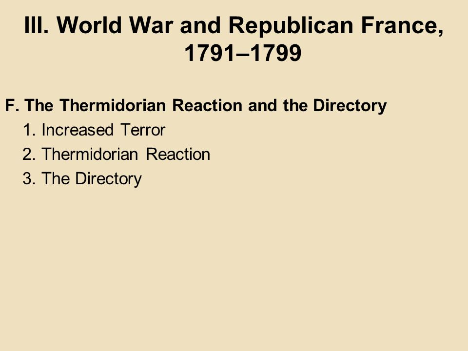 III. World War and Republican France, 1791–1799