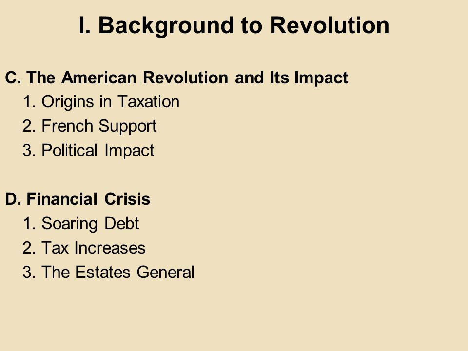 I. Background to Revolution
