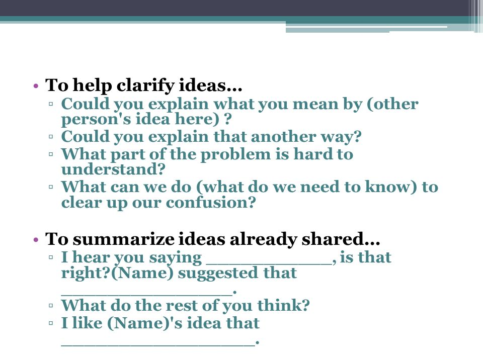 To summarize ideas already shared...