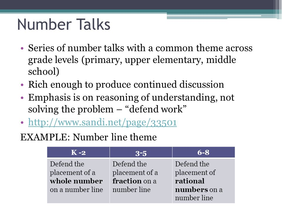 Number Talks Series of number talks with a common theme across grade levels (primary, upper elementary, middle school)