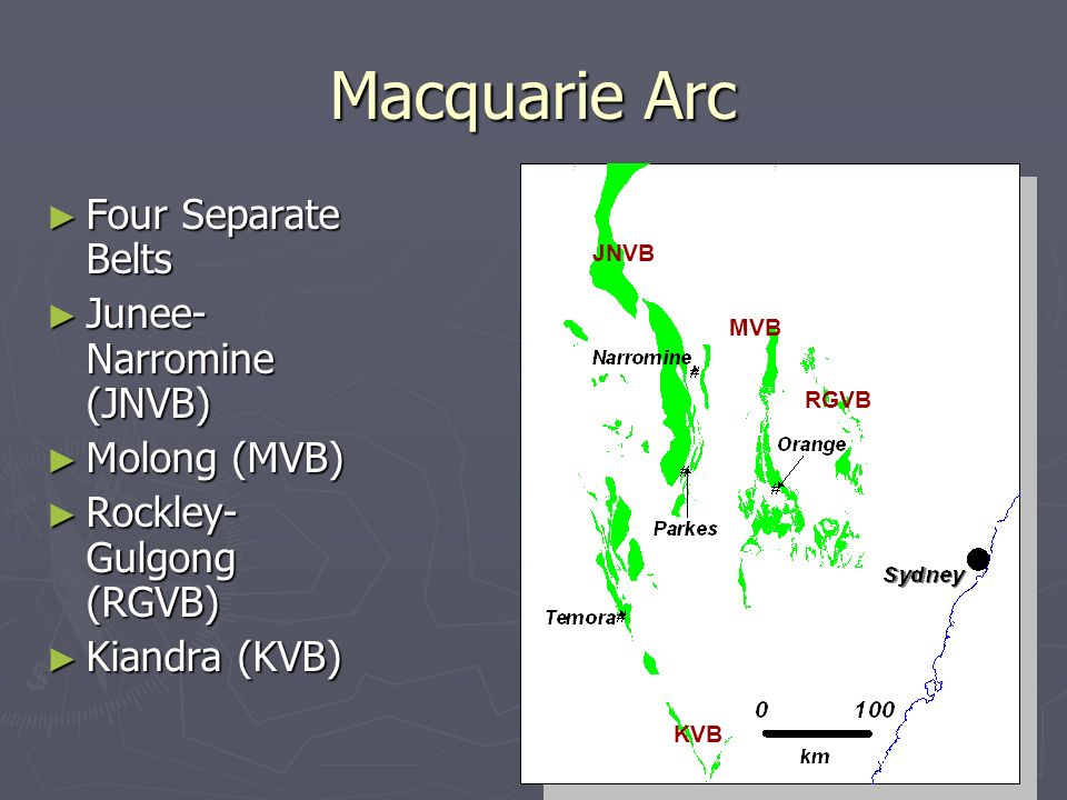 Macquarie Arc Four Separate Belts Junee-Narromine (JNVB) Molong (MVB)